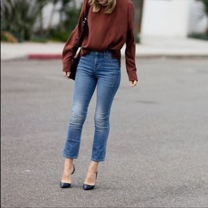 The Great Nerd Blue Straight Cropped Jeans 24